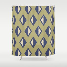 Diamond Pattern Sage Green And Blue Shower Curtain