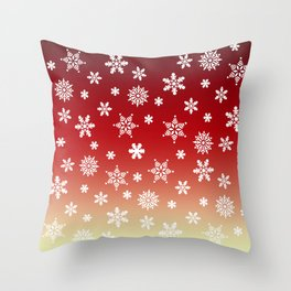 Snow Flurries-Red/Cream Ombre Throw Pillow