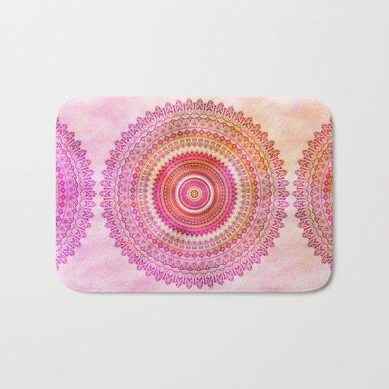 Watercolor Mandala in warm pastel colors Bath Mat