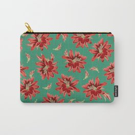 Red Christmas Flowers on Green Botanical Floral Pattern Carry-All Pouch