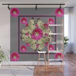 CHARCOAL GREY PINK FLOWERS YELLOW BUTTERFLIES Wall Mural