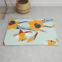 Mid Century spring floral Rug