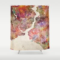 istanbul Shower Curtains featuring Istanbul by MapMapMaps.Watercolors