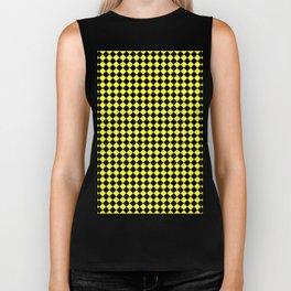 Black and Electric Yellow Diamonds Biker Tank