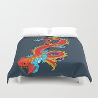 dragon Duvet Covers featuring dragon  by mark ashkenazi