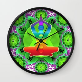 SANSKRIT GREEN HEART CHANTING MANTRA ART Wall Clock