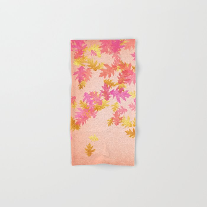Autumn-world 1 - gold glitter leaves on pink background Hand & Bath Towel