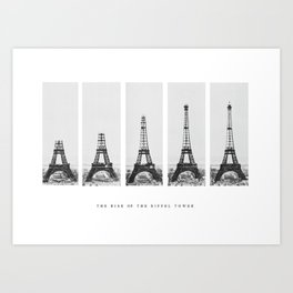 1888-1889 The Rise of the Eiffel Tower Construction Sequence black and white photography Art Print