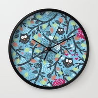 owls Wall Clocks featuring Owls. by panova