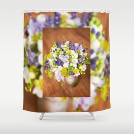 Bridal freesia bouquet wedding flowers Shower Curtain