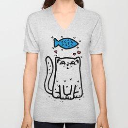 Cat In Love Unisex V-Neck