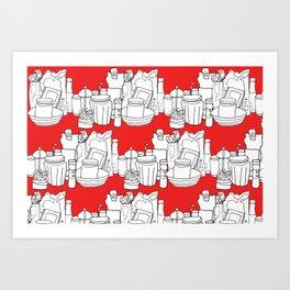 Kitchen Shelves - Red Art Print