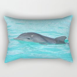 Baby Dolphin Coming up for air Rectangular Pillow