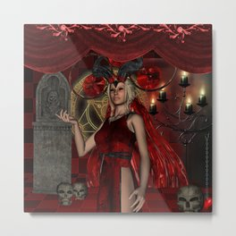 The dark fairy with candle light Metal Print