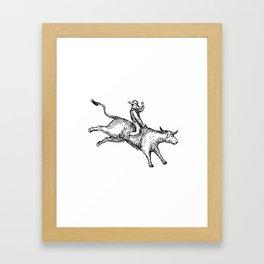 Bull Riding Rodeo Cowboy Drawing Framed Art Print