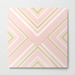 Pinstripes & Perpendiculars (Pink & Gold) Metal Print