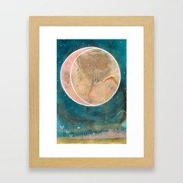 Pink Eco Print Moon Framed Art Print