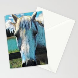 White horse under the clouds Stationery Cards