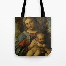 "Antonio Allegri da Correggio ""Madonna and Child with infant Saint John the Baptist"" Tote Bag"