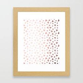 Rose Gold On White Foil Paint Line Dots Stripes Design XII Framed Art Print