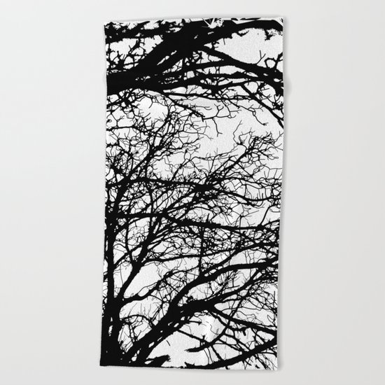black tree Beach Towel