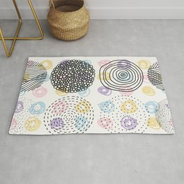 Black and colorful circles cute modern pattern Rug