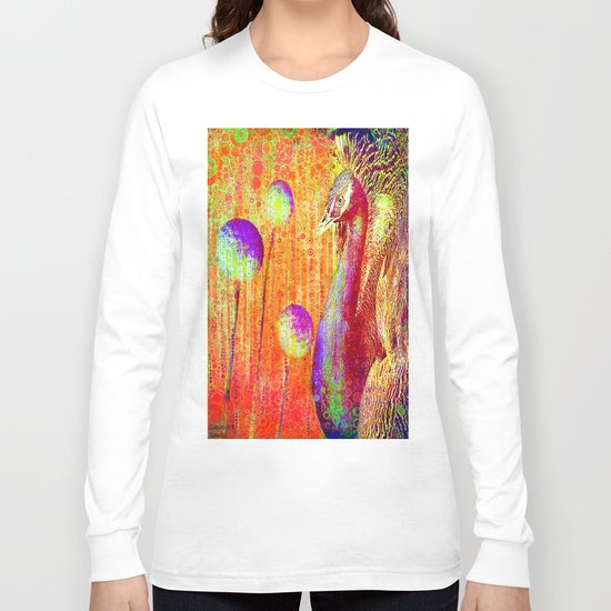 """Peacock Parade""  by Gale storm and Joe Ganech Long Sleeve T-shirt"