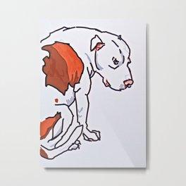Pretty Pittie Dog Portrait Metal Print