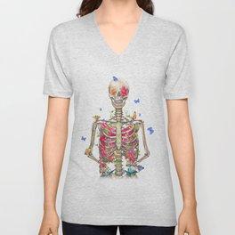 Blooming skeleton on the white background  Unisex V-Neck