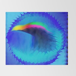 The emblem of an eagle bird head in motion blur. Medal with the image of an eagle on a blue backgrou Throw Blanket