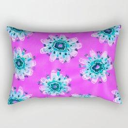 Aqua Lace Rose Rectangular Pillow