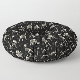 Dinosaur Fossils on Black Floor Pillow