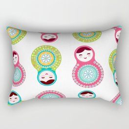 dolls matryoshka on white background, pink and blue colors Rectangular Pillow