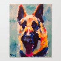 german shepherd Canvas Prints featuring German Shepherd by Heather Hartley