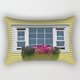 Yellow house with flowerbox in Chester, Nova Scotia Rectangular Pillow