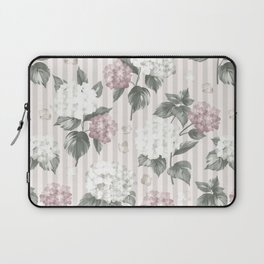 Bohemian pastel pink green floral stripes pattern Laptop Sleeve