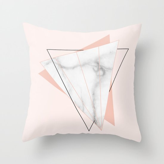 White Marble Geometric Triangle Shapes Salmon Pink Throw Pillow by 5mm Paper Society6