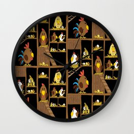 Chicken Coop - by Kara Peters - chickens, farm, illustration, birds Wall Clock