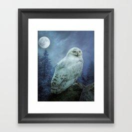 Moonlit Snowy Owl Framed Art Print