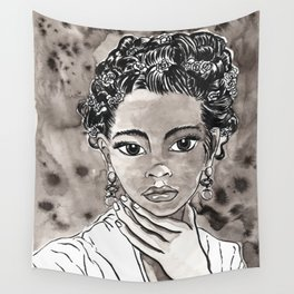 Something Like Frida Female Portrait Black and White Illustration Watercolor Ink Wall Tapestry