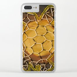 Golden Tortoise by Australian Artist Vidy Potdar – Acrylic Painting on Canvas Clear iPhone Case