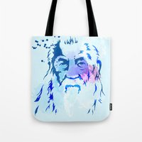 gandalf Tote Bags featuring Gandalf by BIG Colours