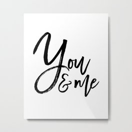 you and me embroidery wedding embroidery design ampersand applique Metal Print