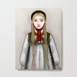 Girl with norwegian inspired traditional clothing Metal Print