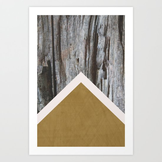 Wooded Chevron Art Print