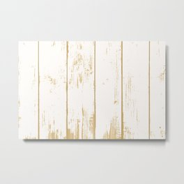 Rustic wooden texture. White and gold antique wood. Metal Print