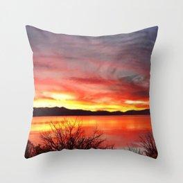 South Lake Tahoe Sunset Throw Pillow