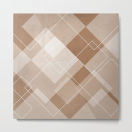Overlapping Diamond Design in Cinnamon Metal Print