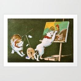 Kobayashi Kiyochika - Top Quality Art - Canvas and Cat Art Print