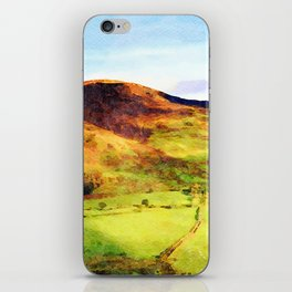 Looking Down to Buttermere Valley, Lake District, UK.  Watercolor Painting iPhone Skin